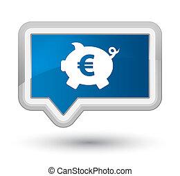 Piggy bank euro sign icon prime blue banner button