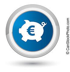 Piggy bank euro sign icon prime blue round button