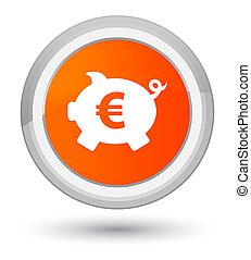 Piggy bank euro sign icon prime orange round button