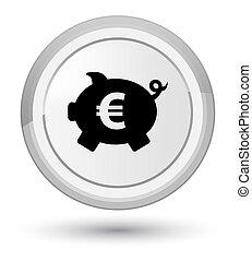 Piggy bank euro sign icon prime white round button