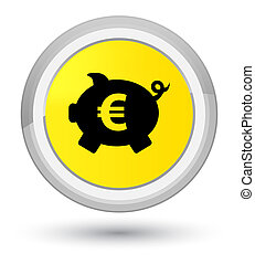 Piggy bank euro sign icon prime yellow round button