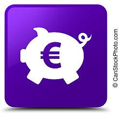 Piggy bank euro sign icon purple square button