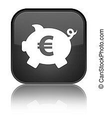 Piggy bank euro sign icon special black square button