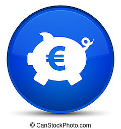 Piggy bank euro sign icon special blue round button