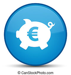Piggy bank euro sign icon special cyan blue round button