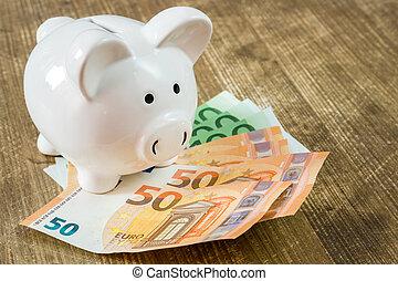 piggy bank, euro