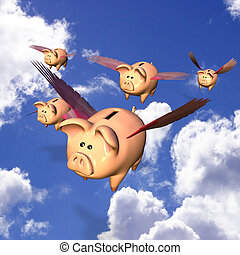 Piggy Bank Exodus - Five Piggy Banks flying away with your...