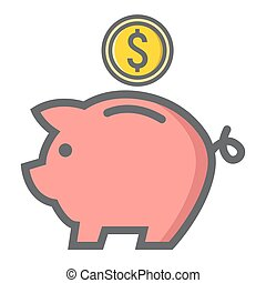 Piggy Bank filled outline icon, business finance