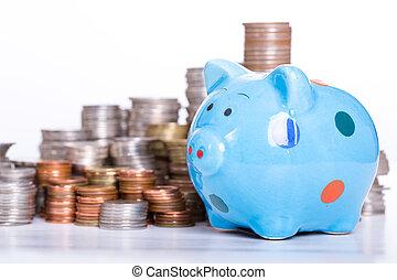Piggy bank finance growing .