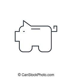 piggy bank, finance, money save thin line icon. Linear...