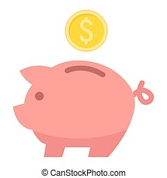 Piggy Bank flat icon, business and finance0.