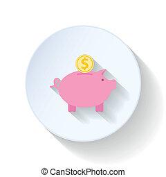 Piggy bank flat icons