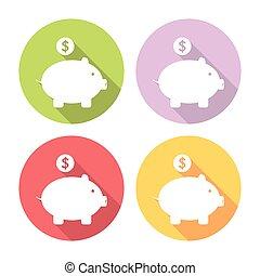 Piggy Bank Flat Icons Set