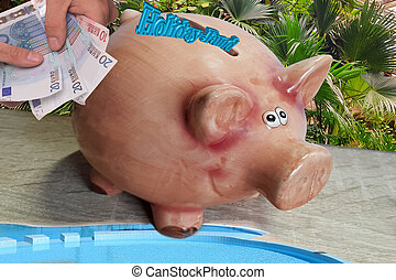 Piggy bank for holiday money