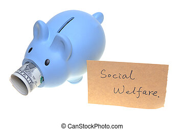 Piggy bank for social welfare concept photo isolated on white background
