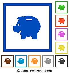 Piggy bank framed flat icons