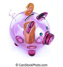 piggy bank, glas, transparent, purpur, og, gylden, mønt, stak