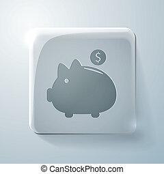piggy bank. Glass square icon