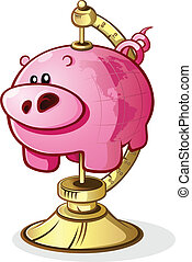 A piggy bank with the world printed on the side mounted on a globe stand to signify worldwide economy or saving for travel
