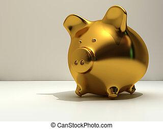 Piggy bank - Golden piggy bank - rendered in 3d