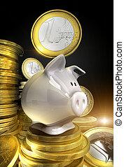 Piggy bank - Golden shiny euro coins with piggy bank