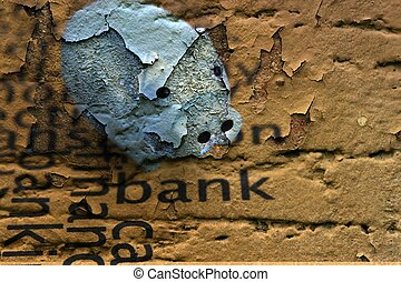 Piggy bank grunge concept concept