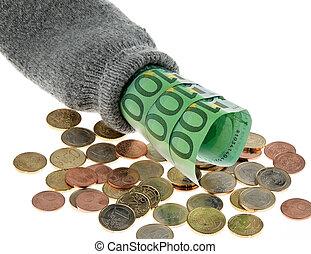 piggy bank, hos, banknotes euro, og, euro