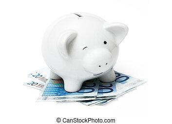 piggy bank, hos, euro