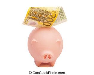 piggy bank, hos, euro, fortegnelserne