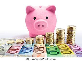 piggy bank, hos, euro, mønt, stacks