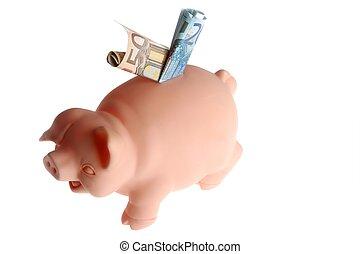 piggy bank, hos, euro noterer