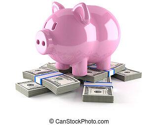 piggy bank, hos, euro, penge