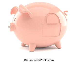 piggy bank, hos, hængelås