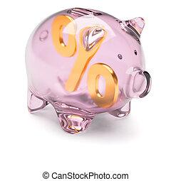 piggy bank, hos, per cents underskriver, inderside, isoleret, på hvide