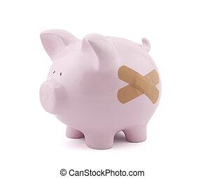 piggy bank, hos, puds