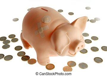 piggy bank, hos, valuta euro