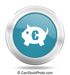 piggy bank icon, blue round glossy metallic button, web and mobile app design illustration