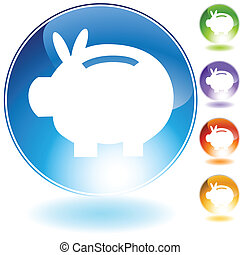 Piggy Bank Icon isolated on white.