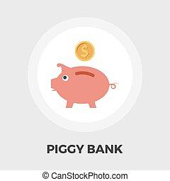 Piggy bank icon flat