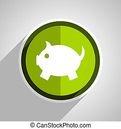 piggy bank icon, green circle flat design internet button, web and mobile app illustration