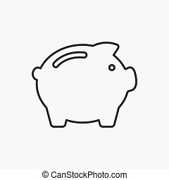 Piggy Bank icon. Money box sign isolated on white background. Button for web, mobile app. Flat design style
