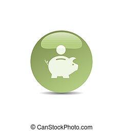 Piggy bank icon on a green bubble