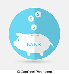 Piggy bank icon on a white background