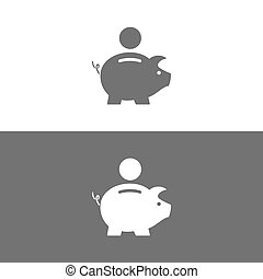 Piggy bank icon on white and dark background