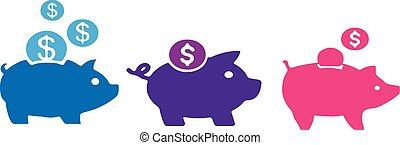 piggy bank icon on white background