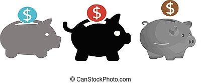 piggy bank icon on white background