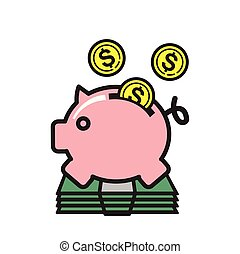 Piggy bank icon on white background for graphic and web design, Modern simple vector sign. Internet concept. Trendy symbol for website design web button or mobile app.