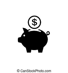 Piggy bank icon. Pictograph of moneybox Flat style