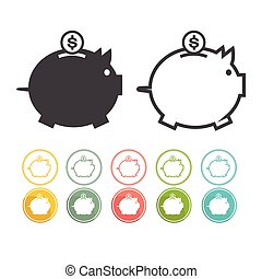 Piggy bank icon Pictograph of moneybox Vector black Yellow pink green blue red