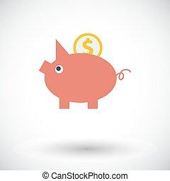 Piggy bank icon.